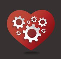 Gears in heart shape vector illustration