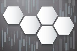 hexagon and candlestick stock exchange background vector