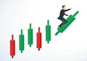 businessman riding on Candlestick chart background vector