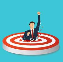 businessman breaking target archery to Successful vector. Business concept illustration