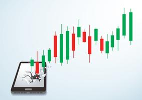 Candlestick stock exchange breakthrough smartphone vector