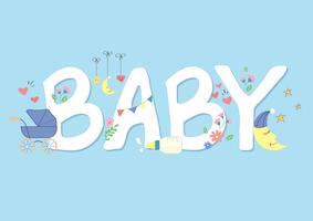 cute baby font vector