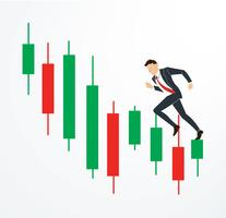 running businessman on Candlestick stock exchange vector