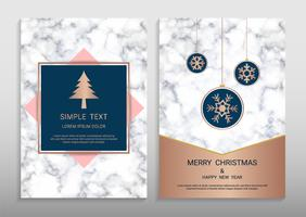 Merry Christmas and Happy New Year Greeting card design template.