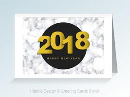 2018 happy new year concept, Symbols of beginning and celebration, Marble greeting cards vector background.