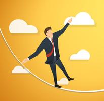 concept of businessman or man in crisis walking in balance on rope over sky background