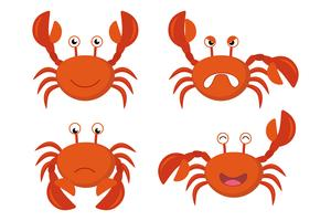 Cute cartoon red crabs vector set - Vector illustration