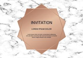 Greeting card design template, Minimal banner and cover with marble texture and geometric golden foil detail background.