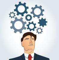 Portrait of businessman with gears icon background