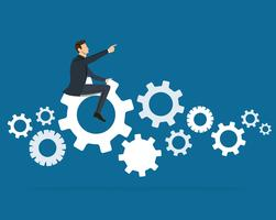 Businessman on the gears icon vector background