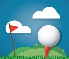 Golf ball on ground and red flag background vector
