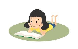 Menina feliz da ilustração do conceito do vetor que lê um livro no assoalho