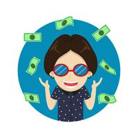 Character cartoon happy rich man with a lot money - Vector illustration