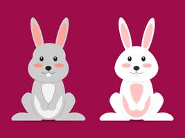 Cute couple rabbit cartoon character - Vector illustration.