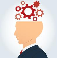 side businessman head with gears vector background