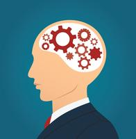 Businessman and gears icon in head