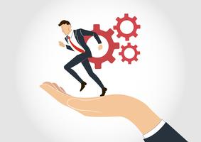 hand holding Businessman running with gear vector