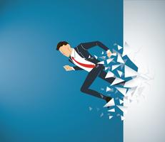 Running Businessman Breaking the wall to success. Business concept illustration