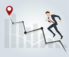 Businessman running with high graph vector