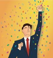 uomo d'affari che celebra un successo. Illustrazione del concetto di business