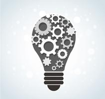 gears in light bulb shape , abstract gears concept of thinking