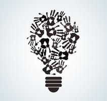 colorful handprint in lightbulb shape , symbol of thinking concept