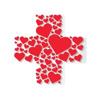 hearts in cross medical shape hospital icon vector