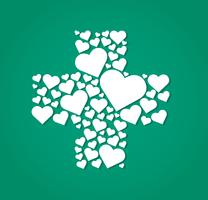 hearts in cross medical shape hospital icon