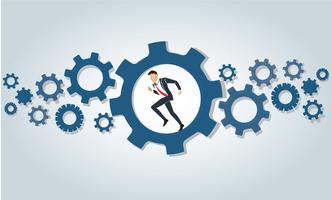 Businessman running in wheel gear background