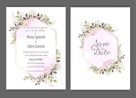Hochzeit laden, Einladung, Save the Date Kartenentwurf mit eleganter Lavendelgartenanemone ein.