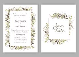 Wedding invite, invitation, save the date card design with elegant lavender  garden  anemone.