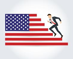 hombre de negocios funcionando Estados Unidos, vector de América corriendo