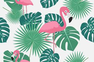 Seamless pattern of tropical green palm jungle and monstera leaves with flamingo on white background.