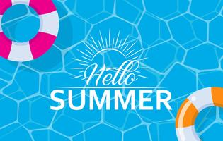 Hello summer web banner with swim ring on pool surface background