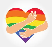 hugging rainbow heart vector , Love LGBT rainbow flag in heart shape