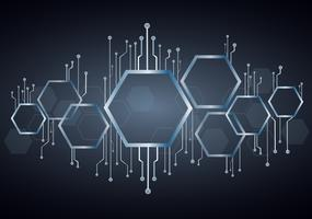 abstract hexagon and technology line background