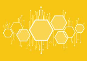 abstract bee hive , hexagon and technology line background