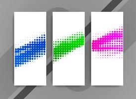 Abstract colorful elegant halftone banners set
