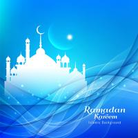 Résumé ramadan religieux Kareem bleu fond ondulé