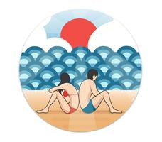 couple on the Beach cartoon vector , man and woman on the Beach