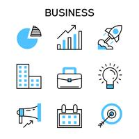 Flat line icons with blue color for project planning, company, startup, analysis, business strategy, goals and marketing.