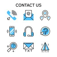 Flat line icons with blue color for contact company, contact team and business