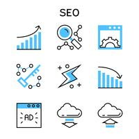 Flat line icons with blue color for search engine optimization and web development.