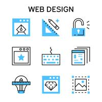 Flat line icons with blue color for web design, web designer, web development and networking.