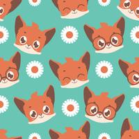 Seamless background with fox and daisy