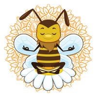 Illustration of a honeybee meditating vector