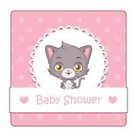 Leuk teken voor babydouche met kat