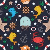 Sea animals and objects seamless pattern