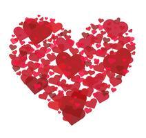 many hearts in heart shape vector