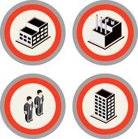 Set of city urban buildings, factories and residents icons